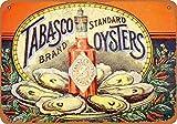 Letrero de hojalata de 20 x 30 cm, diseño de salsa de pimienta y ostras, aspecto vintage, 20 x 30 cm