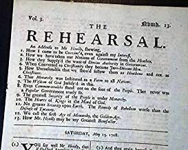 Early & Rare 18th Century THE REHEARSAL London UK Charles Leslie 1708 Newspaper