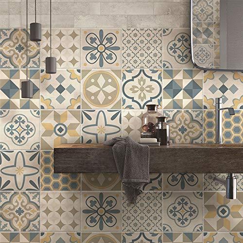Paquete de 24 pegatinas de PVC para decoración de azulejos, de vinilo para baño y cocina, 10 x 10 cm, fabricadas en Italia, PS00198