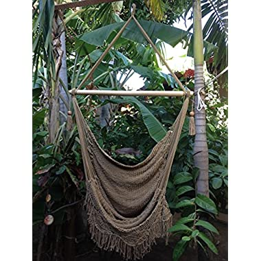 Hanging Hammock Chair Hanging Chair Cotton Rope Porch Swing Seat With Wood Stretcher Bar Organic Handmade Off-White Indoor or Outdoor Chair (Cream)