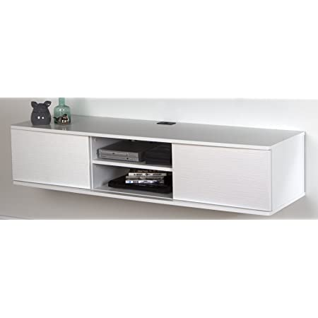 """South Shore Floating Wall Mounted Media Console, Pure White, 56"""","""