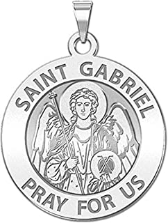 PicturesOnGold.com Saint Gabriel Religious Medal - 3/4 Inch Size of a Nickel - Sterling Silver