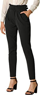 Allegra K Women's High Waist Zip Fly Pleated Belted Casual Pants