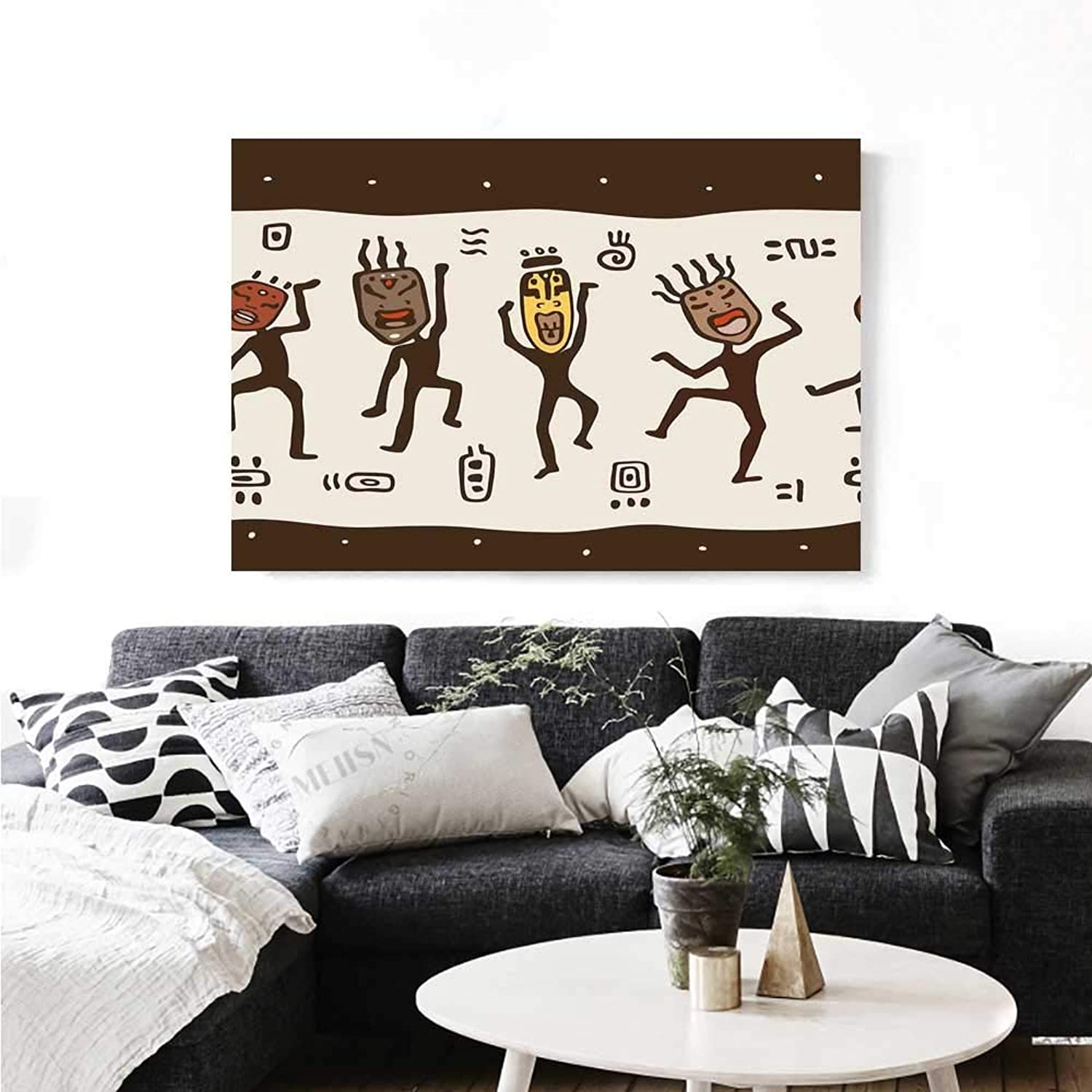 Warm Family Primitive Canvas Wall Art for Bedroom Home Decorations Cartoon Dancing Natives Wearing African Masks Prehistoric Rituals Wall Stickers 36 x32  Army Green Beige Yellow