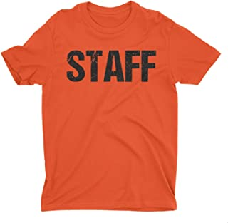 NYC FACTORY Neon Orange Mens Staff T-Shirt Front & Back Print Event T Shirt Tee