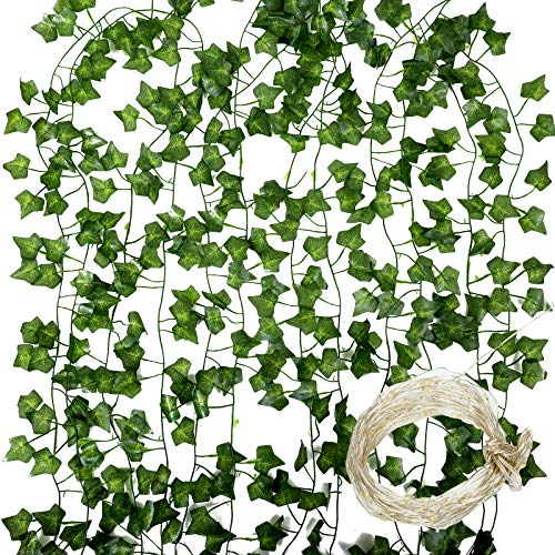 Emania of love 12 Packs of 84 Foot Artificial Ivy Wreaths, False Ivy Wreaths, Green Leaves with 100 led32 feet, can be Hung Indoors, in Kitchen, Garden, Wedding Decoration, UV Protection (Green)