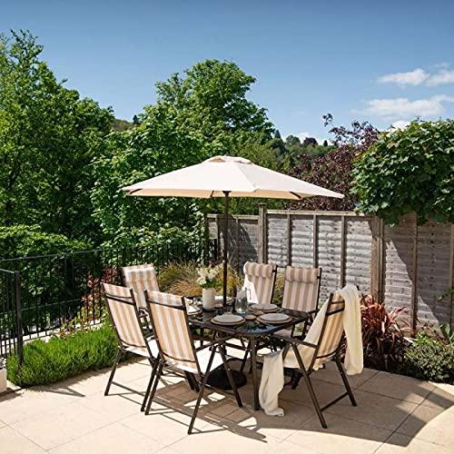 HECTARE Kennet Reclining Garden Outdoor Polytex Dining Set (6 Seater, Beige Stripe)