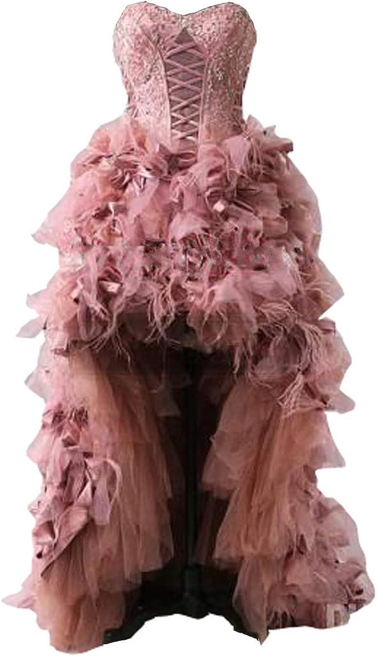 Feathers Designer Wedding Dresses Sweetheart Applique Beaded Ruffles Short Fornt Long Back Bridal Dress Gowns 2021