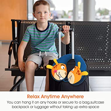 COOLBEBE Kids Neck Travel Pillow, Remarkable Head Chin Neck Support U-Shaped Animal Pillows for Child, Toddlers – Relax and S