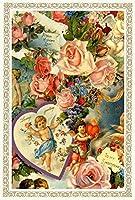 Rakka ヴィクトリアン エンジェル ポストカード同柄6枚セット ヴィンテージ キューピット カード オリジナルカード 天使 葉書 文房具 オフィス用品 封筒 はがき レター用品 ポストカード 絵柄付はがき Rakka RV01