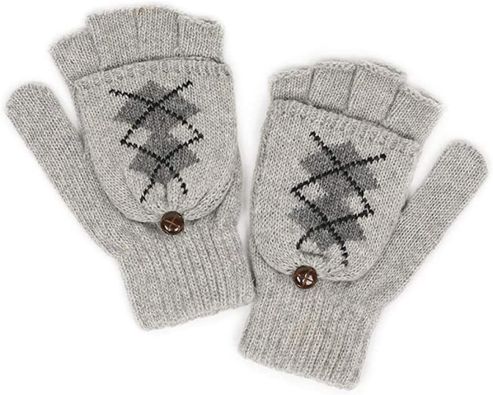 Women's Cold Weather Gloves Clamshell knit wool yarn half finger cute writing finger