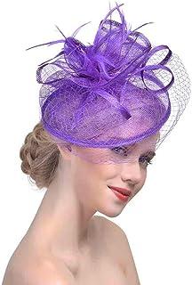 Bigood Womens Feather Fascinators Derby Hat Party Mesh Headwear Headband