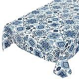 ANRO Tischdecke Wachstuch abwaschbar Wachstuchtischdecke Wachstischdecke Fliese Gschel Weiß Blau 100x140cm