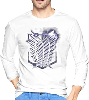 STDONE Fashion Tees Attack On Titan Scout Regiment Logo Long Sleeves T Shirts for Mens Black