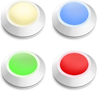 HONWELL Push Light Multi Colored Puck Lights, Stick Lights for Closet, RGB Touch Lights Dimmable Tap Light Cordless Battery Powered Lights Under Cabinet Lights Under Counter Lights (4 Pack)
