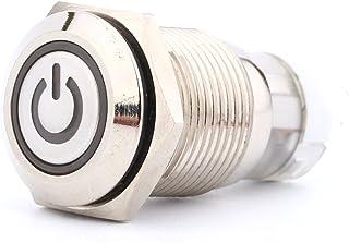 Qii lu Druckschalter Schalter, 16mm Metall Knopfschalter 1NO 1NC Metall Knopfschalter LED Druckschalter Druckknopf mit Energiesymbol