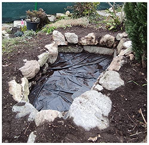 Membraan Garden Veg Liner Fish Pond Liner en Underlayment Film Ondoordringbare scheurbestendige versterkte HDPE Heavy Duty Landscaping Pool Vijver 5m/6m/7m/8m/10m Geomembrane (Grootte: 2 × 2 M (6.6×6.6ft), Kleur: 20S)