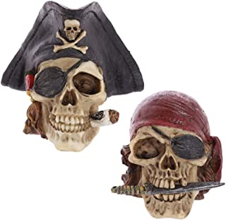 MUROER Artificial Resin Skull Caribbean Pirate Captain Looting Skeleton Statue Gothic Scary Ornament