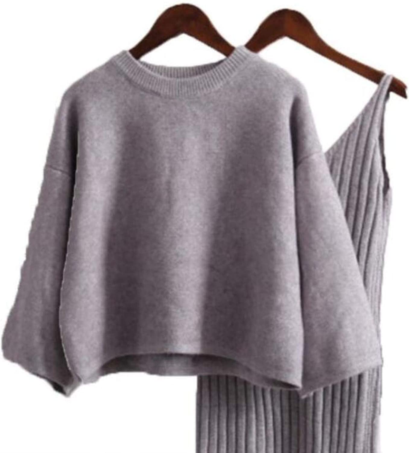 Women Sweater Straped Dress Sets Solid Casual Loose Sweater Knit Dress