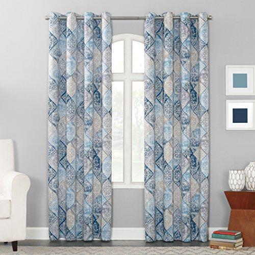 "Sun Zero Reardon Distressed Global Tile Print Grommet Curtain Panel, 54"" x 63"", Navy Blue"