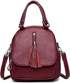 Fashion Casual Tassel Handbag Soft Leather Solid Color Handbag Shoulder Double Back Bag Crossbody Bag Messenger Bag Three-Purpose Backpack (Color : Red)