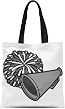 Semtomn Cotton Canvas Tote Bag Cheerleader Cartoon of Cheerleading Competition Megaphone Pom School Sport Reusable Shoulder Grocery Shopping Bags Handbag Printed