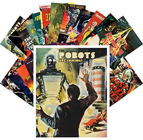 Postcard Set 24 cards Robots Are Coming Vintage Movie Poster SciFi Space Battle