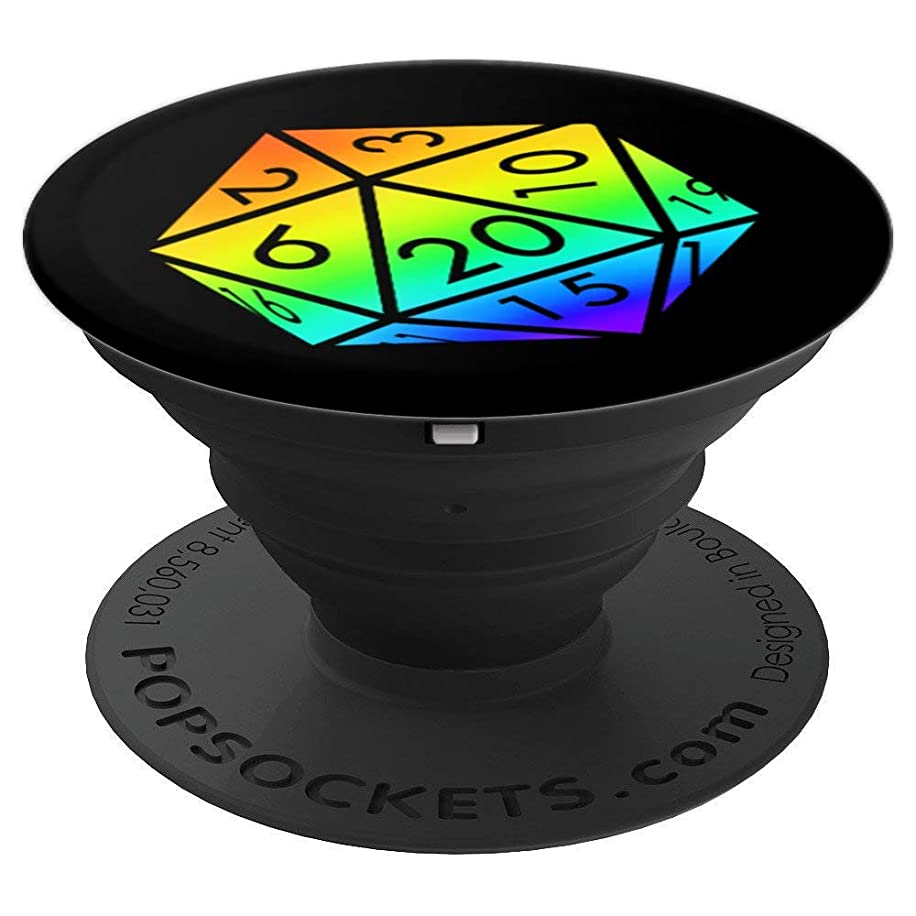 RPG Dice d20 Rainbow Gay Pride LGBTQ Men Women Gift - PopSockets Grip and Stand for Phones and Tablets