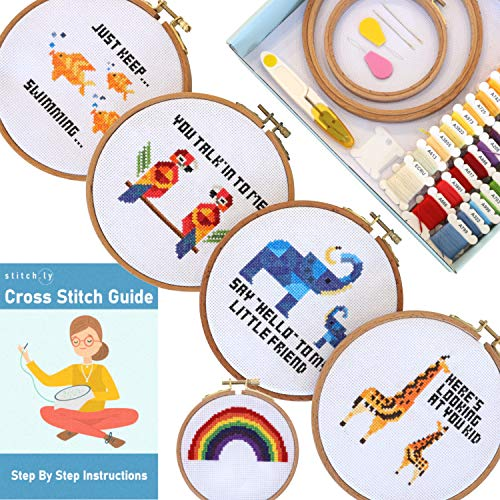 Stitch.ly Cross Stitch Kits Beginner. 5 Cross Stitch Patterns. Anxiety Relief. Designed in Ireland. 3 Embroidery Hoops. Instruction Guide Included