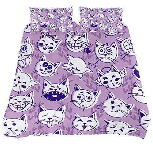 ASIGA Funny Cat Double Duvet Cover Set 3 Pieces Bedding Set for Women Men,Bedroom Bed Linen