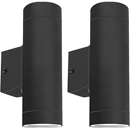 2 x Modern Black Stainless Steel Double Outdoor Wall Light Up Down IP65 ZLC019-B