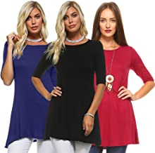 Isaac Liev Women's 3/4 Sleeve Tunic Top – Pack of 3 Swing Flowy Long Shirts
