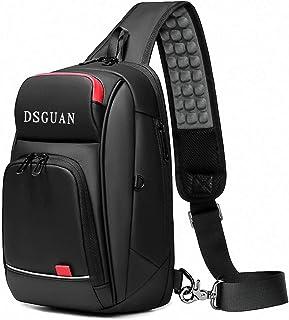 ショルダーバッグ メンズ 斜めがけ 大容量 人気 ボディバッグ 防水 USBポート 肩掛けバッグ YKK製ファスナーブラック通勤通学DSGUAN