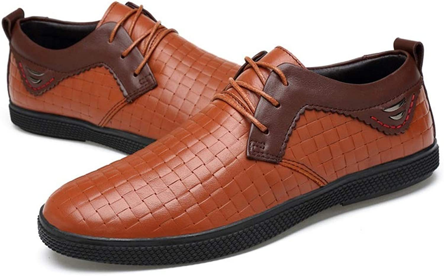 CATEDOT Men's shoes Lace up Summer Lightweight Casual Fashion leather shoes Breathable (color   orange, Size   9.5UK)