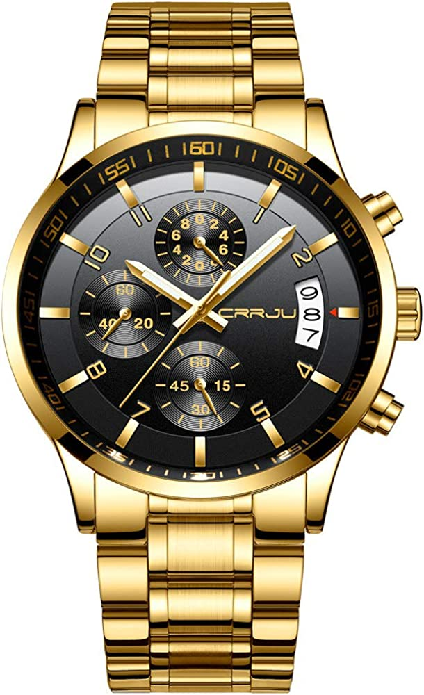 CRRJU CRRJU Men's Wristwatches, Multifunctional Chronograph Wristwatches,Stainsteel Steel Band Waterproof Watch