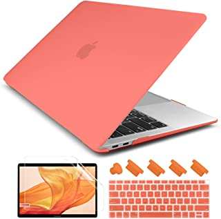Dongke Newest MacBook Air 13 inch Case 2018 2019 Release A1932, Rubberized Frosted Matte See Through Hard Case Cover for MacBook Air 13.3 inch with Retina Display Touch ID - Living Coral