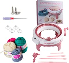 DogHa Knitting Machine Kit Needles Knitting Round Loom Machines DIY Weaving Board Rotating Double Knit Loom for Socks Hat Scarf for Kids Adults