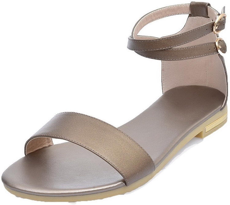 WeiPoot Women's Pu Low-Heels Open Toe Buckle Sandals