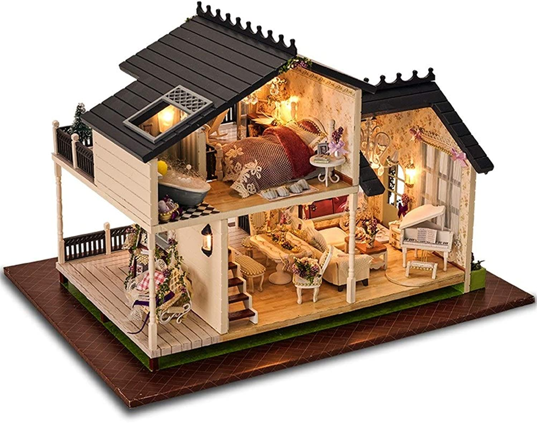 DONGLIAN DIY Modell DIY Cabin Set  Handmade Wooden Furniture Decor Kit Kindersouvenir (mit Licht Ohne Batterie)