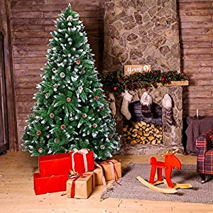 SuccessfulHome New Artificial 6/7 FT Christmas Tree with Stand Holiday Season Green for Home, Office, Party Decoration (7ft)