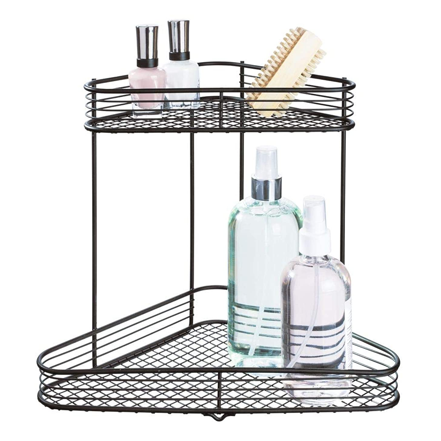 InterDesign Vienna Metal Wire Corner Standing Vanity Caddy, 2-Tier Shelf Baskets for Countertops, Desks, Dressers, Bathroom, 9