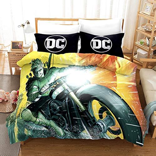 DZSCW DC Comics - Juego de funda nórdica de 135 x 200 cm y funda de almohada de 80 x 80 cm, regalo para niños/niñas (9,200 x 200 cm + 80 x 80 cm x 2)