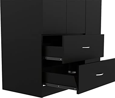 TUHOME Austral Collection 3 Door Armoire/Closet/Wardrobe/Storage Cabinet/Organizer with 2 Drawers, 5 Concealed Shelves and Cl
