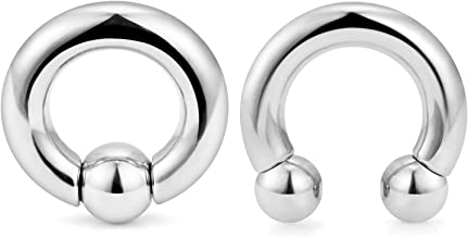 Cisyozi PA Ring Internally Threaded Circular Barbells Horseshoe and Spring Action Captive Bead Ring CBR 2G 4G 6G 8G 316L Surgical Steel Body Piercing Jewelry Set of 2