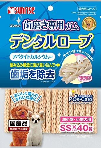 『ゴン太 ゴン太の歯磨き専用ガム デンタルロープ アパタイトカルシウム入り SSサイズ 40g』のトップ画像