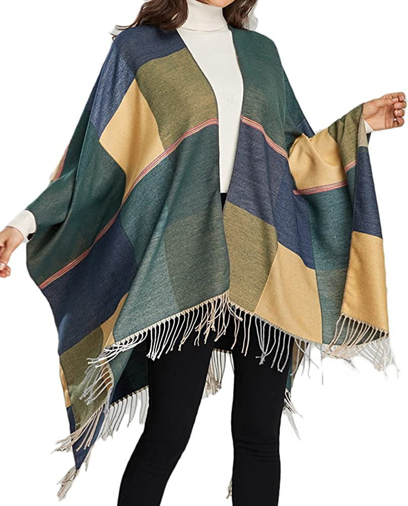 Epsion Women's Tassel Shawls Wraps Warm Winter Open Front Poncho Cape Oversized Cardigan Sweater Coat