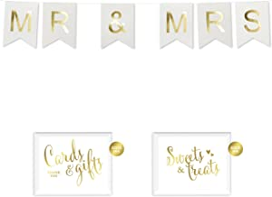 Andaz Press Shiny Gold Foil Paper Pennant Hanging Wedding Banner with Gold Party Signs, Mr. & Mrs. White, Pre-Strung, No Assembly Required, 1-Set, Chair Signs, Photo Booth Prop