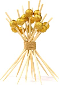 100 Counts Bamboo Cocktail Picks, 4.7 Inch Handmade Wooden Fruit Sticks Cocktail Skewers, Cocktail Sticks for Appetizer Drinks Fruits Sandwich Party Decorative Food Picks-Gold Glitter Pearl