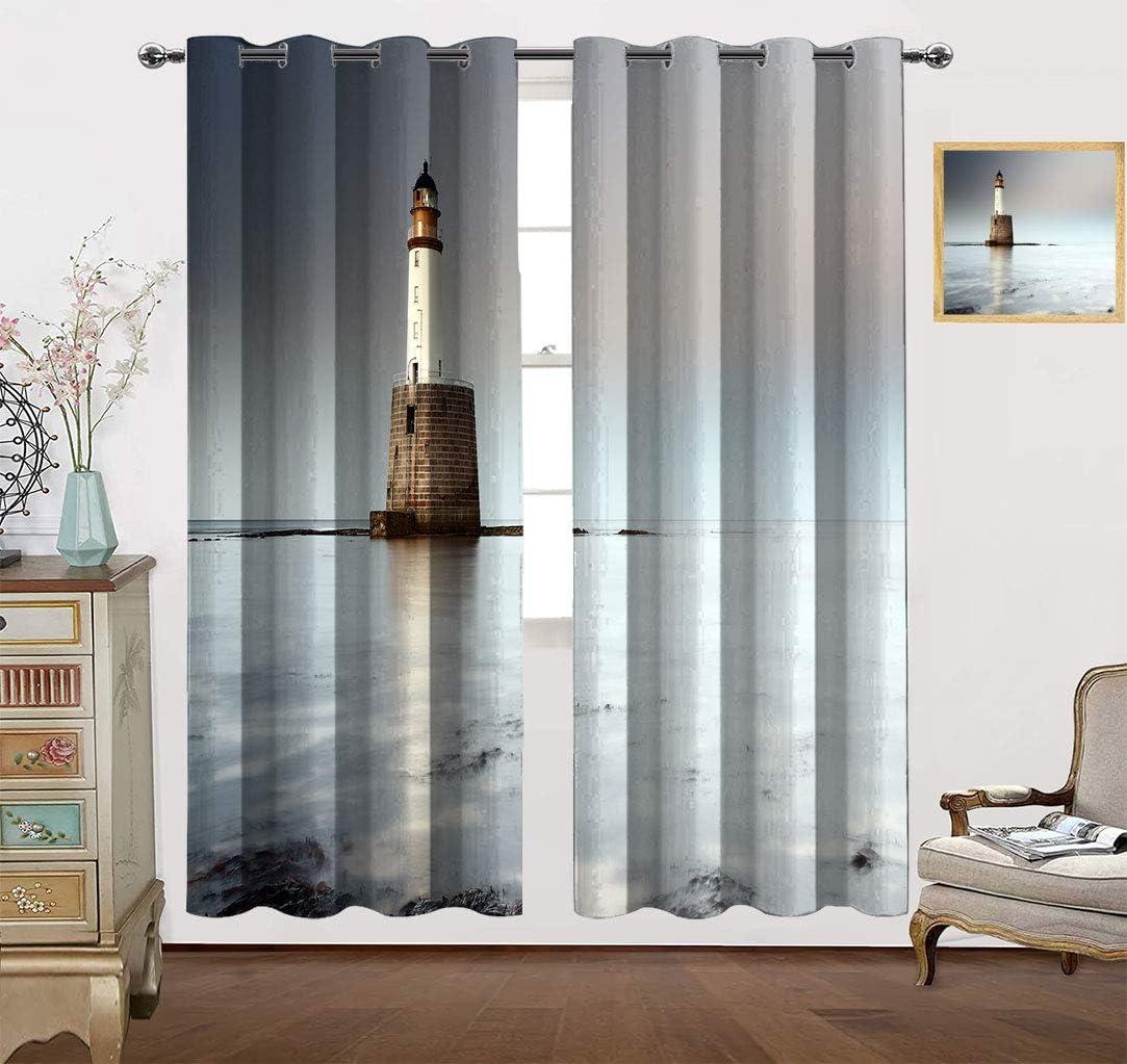 Datiansun Sea Decor Blackout Curtains E The Max 52% OFF on Lighthouse North Fashion