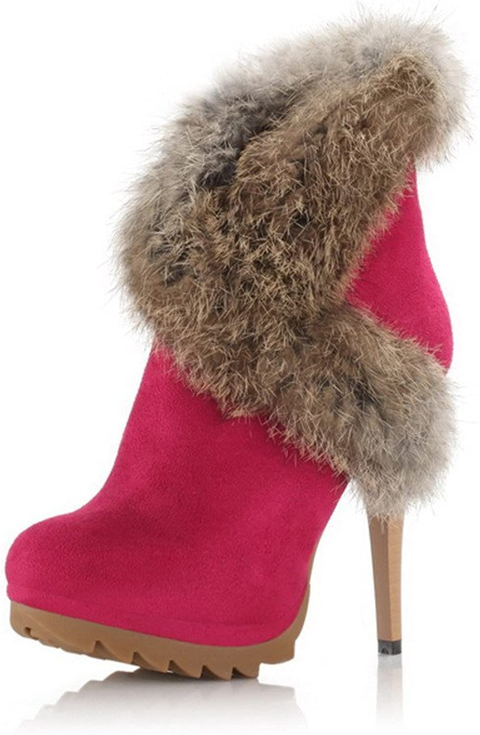 WeenFashion Womens Closed Round Toe High Heel Stiletto Frosted PU Short Plush Solid Boots with Zipper, pinkred, 7.5 B(M) US
